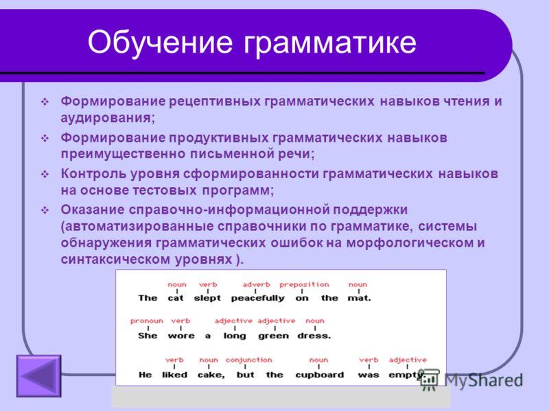 Обучение грамматике Формирование рецептивных грамматических навыков чтения и аудирования; Формирование продуктивных грамматических навыков преимущественно письменной речи; Контроль уровня сформированности грамматических навыков на основе тестовых про