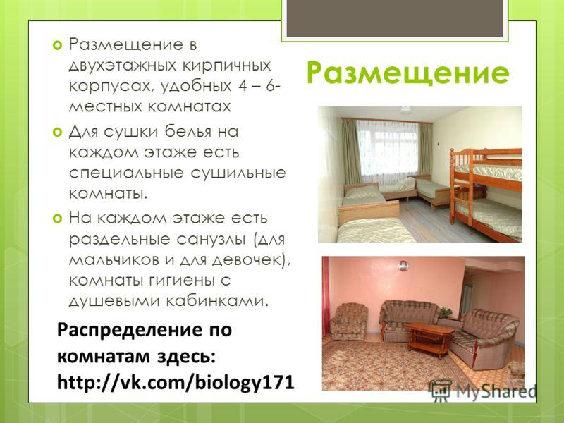 Размещение Размещение в двухэтажных кирпичных корпусах, удобных 4 – 6- местных комнатах Для сушки белья на каждом этаже есть специальные сушильные комнаты. На каждом этаже есть раздельные санузлы (для мальчиков и для девочек), комнаты гигиены с душев