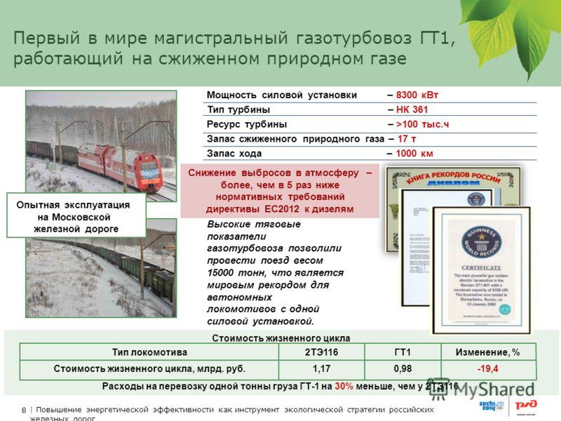 8 | Повышение энергетической эффективности как инструмент экологической стратегии российских железных дорог Первый в мире магистральный газотурбовоз ГТ1, работающий на сжиженном природном газе Мощность силовой установки – 8300 кВт Тип турбины – НК 36