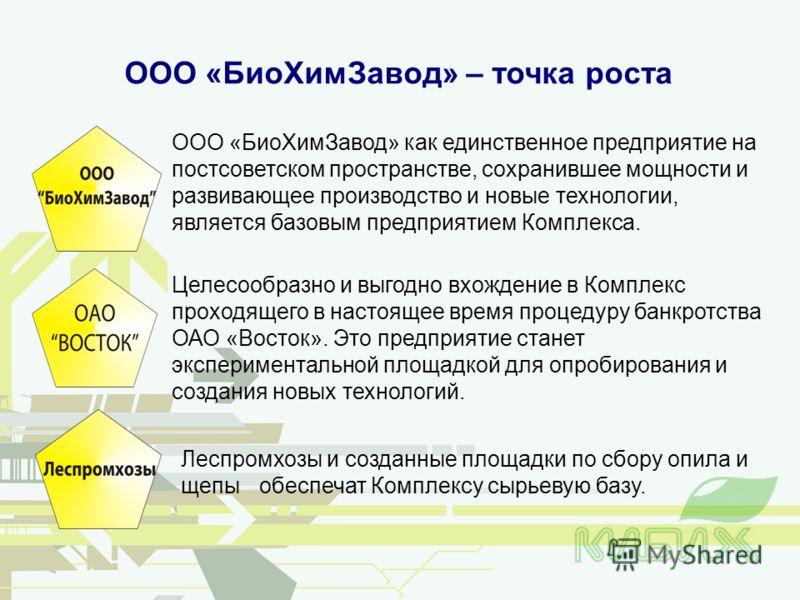 ООО «БиоХимЗавод» – точка роста ООО «БиоХимЗавод» как единственное предприятие на постсоветском пространстве, сохранившее мощности и развивающее производство и новые технологии, является базовым предприятием Комплекса. Леспромхозы и созданные площадк