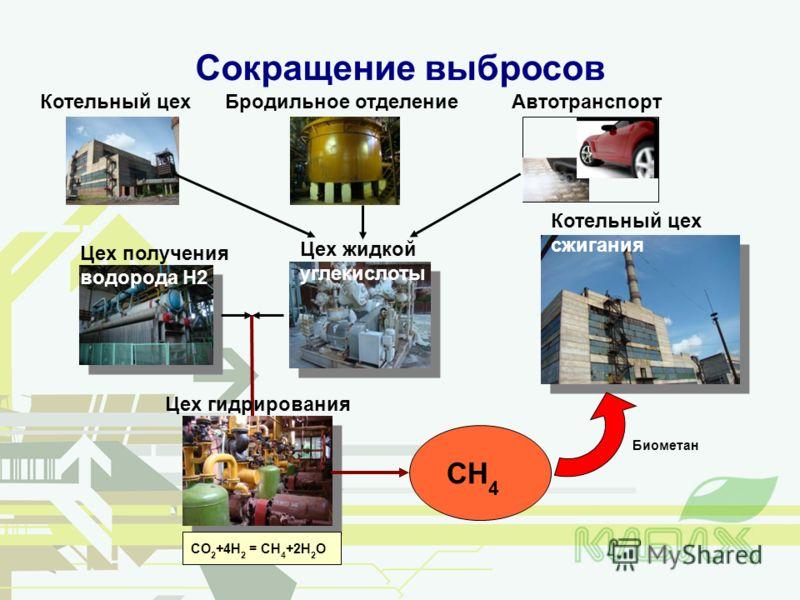 Сокращение выбросов CH 4 CO 2 +4H 2 = CH 4 +2H 2 O Котельный цехБродильное отделениеАвтотранспорт Цех жидкой углекислоты Цех получения водорода H2 Цех гидрирования Биометан Котельный цех сжигания