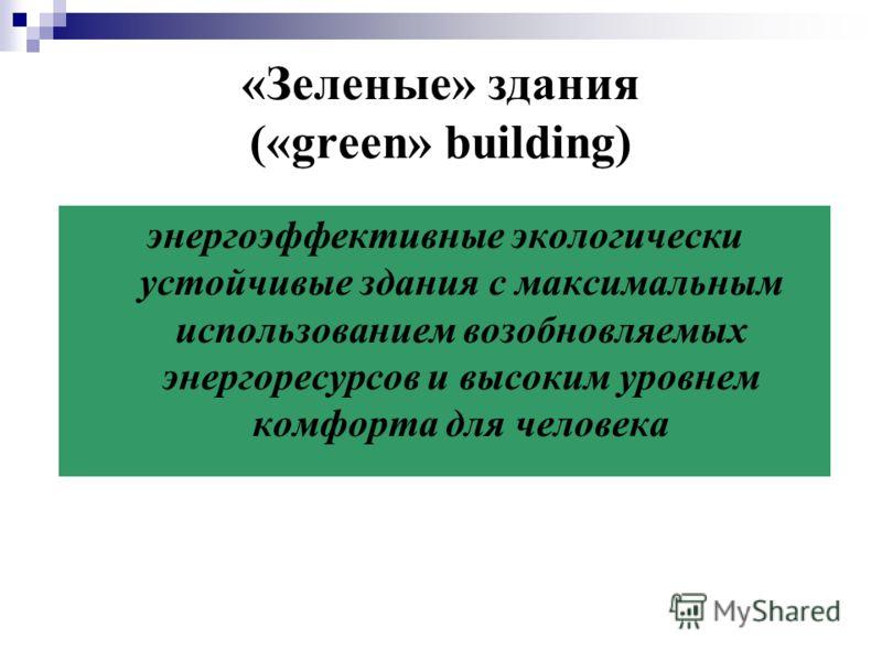 «Зеленые» здания («green» building) энергоэффективные экологически устойчивые здания с максимальным использованием возобновляемых энергоресурсов и высоким уровнем комфорта для человека