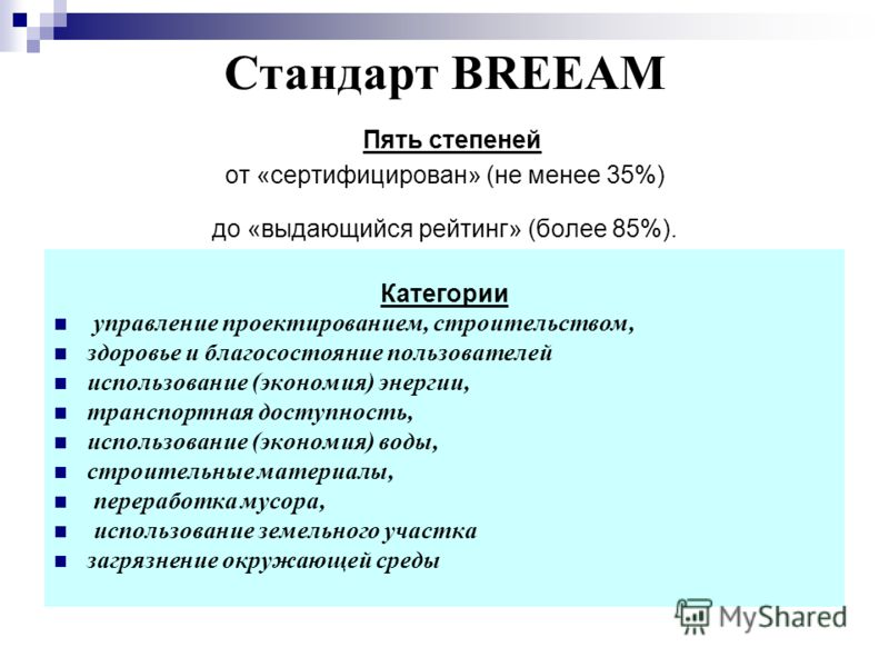 Стандарт BREEAM Пять степеней от «сертифицирован» (не менее 35%) до «выдающийся рейтинг» (более 85%). Категории управление проектированием, строительством, здоровье и благосостояние пользователей использование (экономия) энергии, транспортная доступн