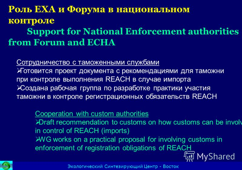 Экологический Синтезирующий Центр - Восток Cooperation with custom authorities Draft recommendation to customs on how customs can be involved in control of REACH (imports) WG works on a practical proposal for involving customs in enforcement of regis