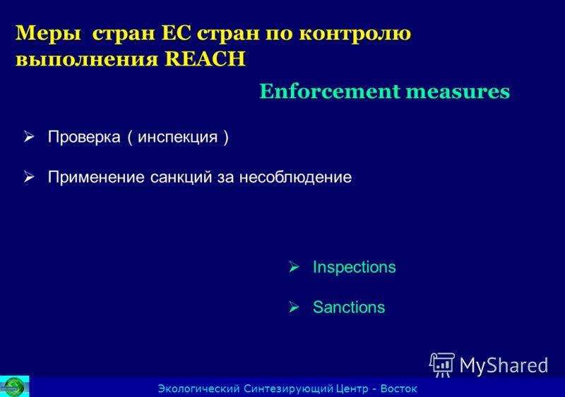 Меры стран ЕС стран по контролю выполнения REACH Enforcement measures Экологический Синтезирующий Центр - Восток Проверка ( инспекция ) Применение санкций за несоблюдение Inspections Sanctions