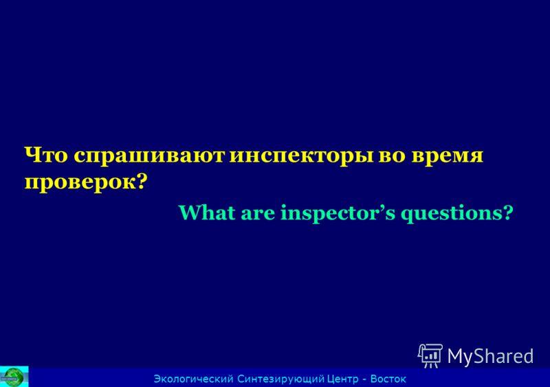 Что спрашивают инспекторы во время проверок? What are inspectors questions? Экологический Синтезирующий Центр - Восток