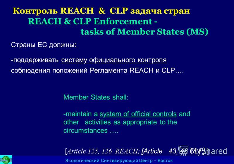 Контроль REACH & CLP задача стран REACH & CLP Enforcement - tasks of Member States (MS) Экологический Синтезирующий Центр - Восток Страны ЕС должны: -поддерживать систему официального контроля соблюдения положений Регламента REACH и CLP…. [ Article 1