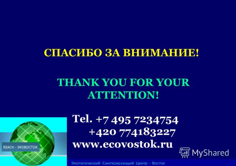 Экологический Синтезирующий Центр - Восток СПАСИБО ЗА ВНИМАНИЕ! THANK YOU FOR YOUR ATTENTION! Tel. +7 495 7234754 +420 774183227 www.ecovostok.ru