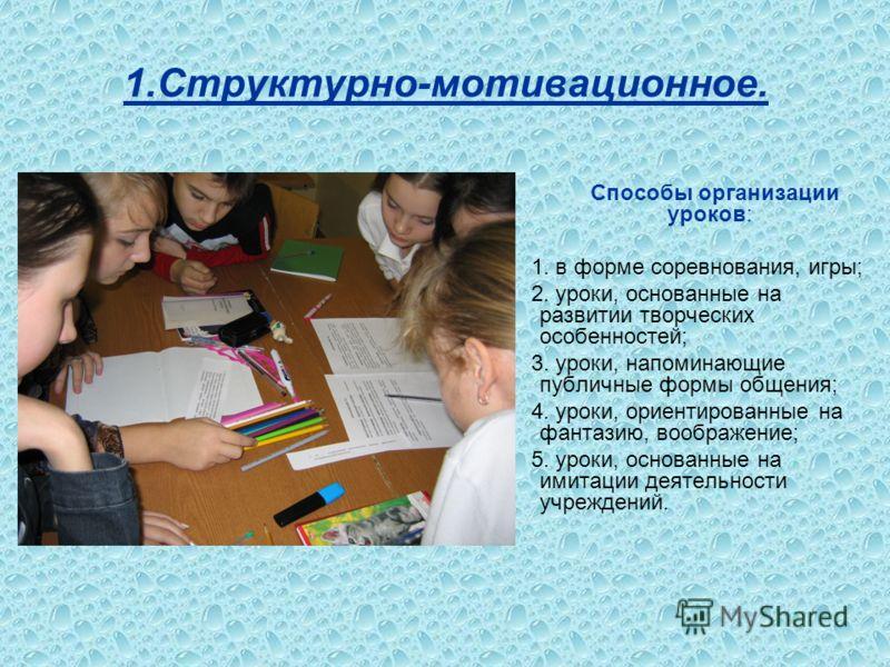 Способы организации уроков: 1. в форме соревнования, игры; 2. уроки, основанные на развитии творческих особенностей; 3. уроки, напоминающие публичные формы общения; 4. уроки, ориентированные на фантазию, воображение; 5. уроки, основанные на имитации