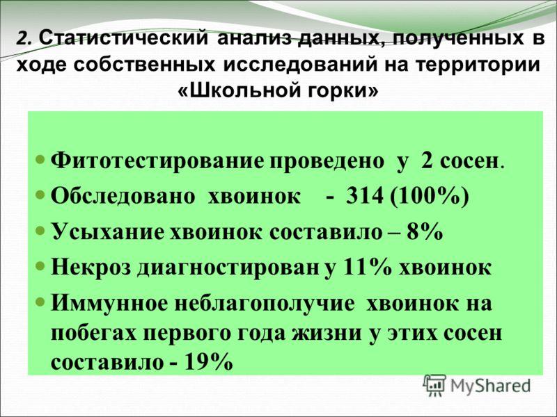 2. Статистический анализ данных, полученных в ходе собственных исследований на территории «Школьной горки» Фитотестирование проведено у 2 сосен. Обследовано хвоинок - 314 (100%) Усыхание хвоинок составило – 8% Некроз диагностирован у 11% хвоинок Имму