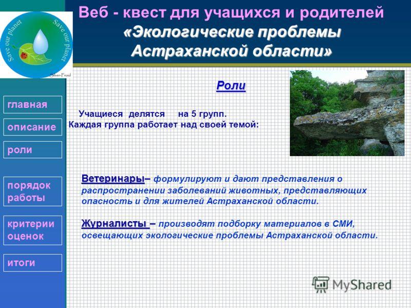 «Экологические проблемы Астраханской области» Веб - квест для учащихся и родителей «Экологические проблемы Астраханской области»Роли Учащиеся делятся на 5 групп. Каждая группа работает над своей темой: Ветеринары Ветеринары– формулируют и дают предст