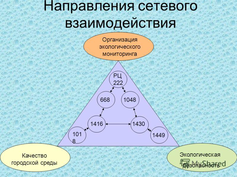 Направления сетевого взаимодействия Организация экологического мониторинга Качество городской среды Экологическая безопасность РЦ 222 668 1048 101 8 14161430 1449
