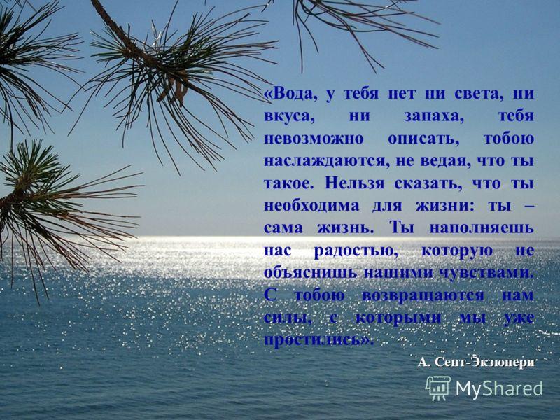 «Вода, у тебя нет ни света, ни вкуса, ни запаха, тебя невозможно описать, тобою наслаждаются, не ведая, что ты такое. Нельзя сказать, что ты необходима для жизни: ты – сама жизнь. Ты наполняешь нас радостью, которую не объяснишь нашими чувствами. С т