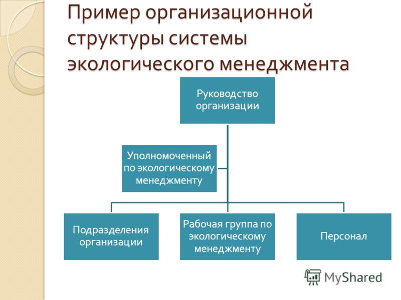 Пример организационной структуры системы экологического менеджмента Руководство организации Подразделения организации Рабочая группа по экологическому менеджменту Персонал Уполномоченный по экологическому менеджменту