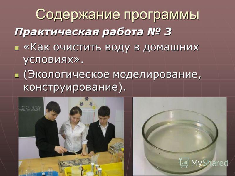 Содержание программы Практическая работа 3 «Как очистить воду в домашних условиях». «Как очистить воду в домашних условиях». (Экологическое моделирование, конструирование). (Экологическое моделирование, конструирование).