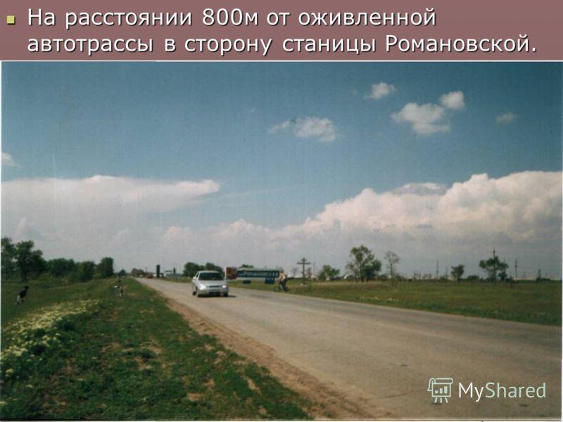 На расстоянии 800м от оживленной автотрассы в сторону станицы Романовской.