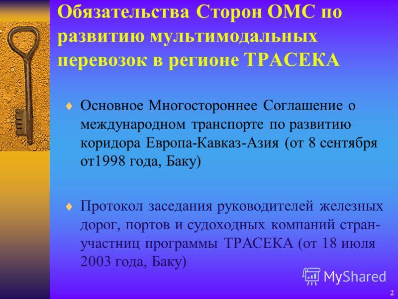 2 Обязательства Сторон ОМС по развитию мультимодальных перевозок в регионе ТРАСЕКА Основное Многостороннее Соглашение о международном транспорте по развитию коридора Европа-Кавказ-Азия (от 8 сентября от1998 года, Баку) Протокол заседания руководителе