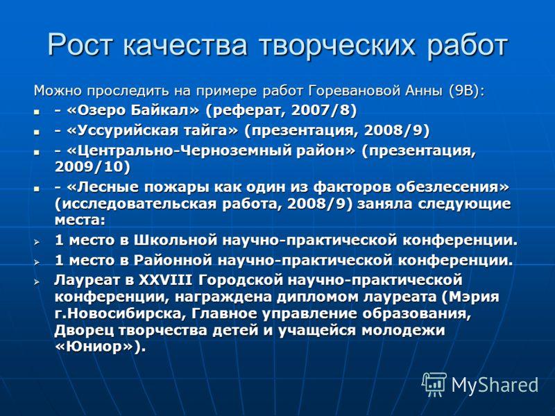 Рост качества творческих работ Можно проследить на примере работ Горевановой Анны (9В): - «Озеро Байкал» (реферат, 2007/8) - «Озеро Байкал» (реферат, 2007/8) - «Уссурийская тайга» (презентация, 2008/9) - «Уссурийская тайга» (презентация, 2008/9) - «Ц