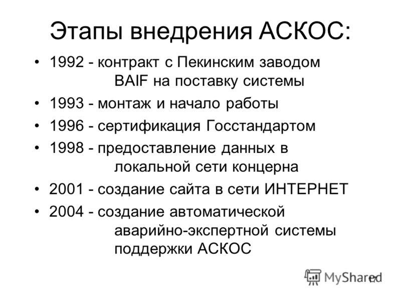 17 Этапы внедрения АСКОС: 1992 - контракт с Пекинским заводом BAIF на поставку системы 1993 - монтаж и начало работы 1996 - сертификация Госстандартом 1998 - предоставление данных в локальной сети концерна 2001 - создание сайта в сети ИНТЕРНЕТ 2004 -