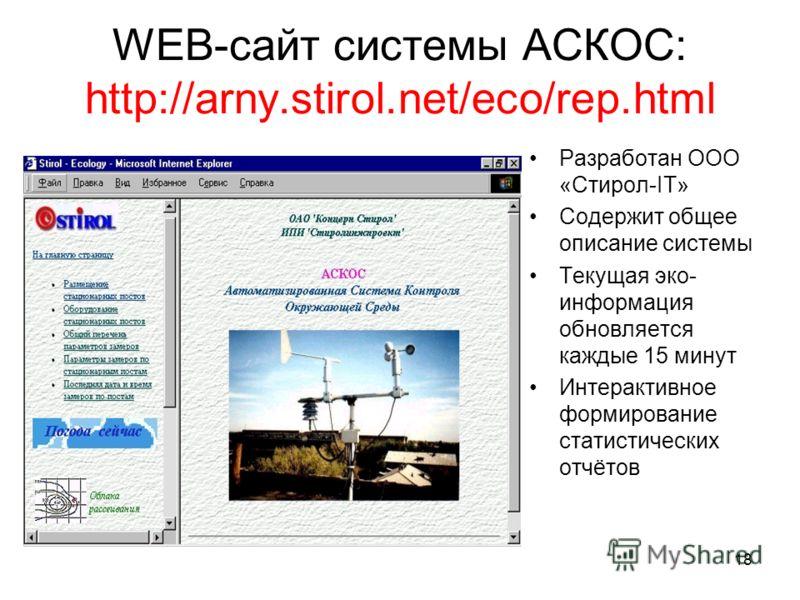 18 WEB-сайт системы АСКОС: http://arny.stirol.net/eco/rep.html Разработан ООО «Стирол-IT» Содержит общее описание системы Текущая эко- информация обновляется каждые 15 минут Интерактивное формирование статистических отчётов