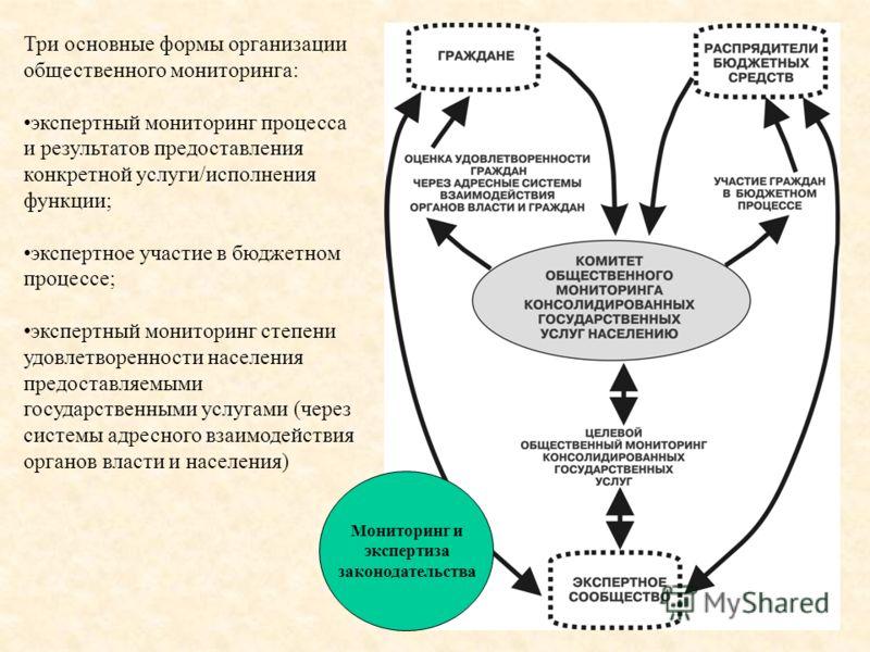 Три основные формы организации общественного мониторинга: экспертный мониторинг процесса и результатов предоставления конкретной услуги/исполнения функции; экспертное участие в бюджетном процессе; экспертный мониторинг степени удовлетворенности насел