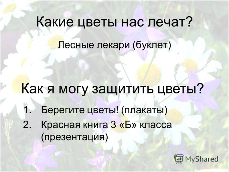 Какие цветы нас лечат? Лесные лекари (буклет) Как я могу защитить цветы? 1.Берегите цветы! (плакаты) 2.Красная книга 3 «Б» класса (презентация)