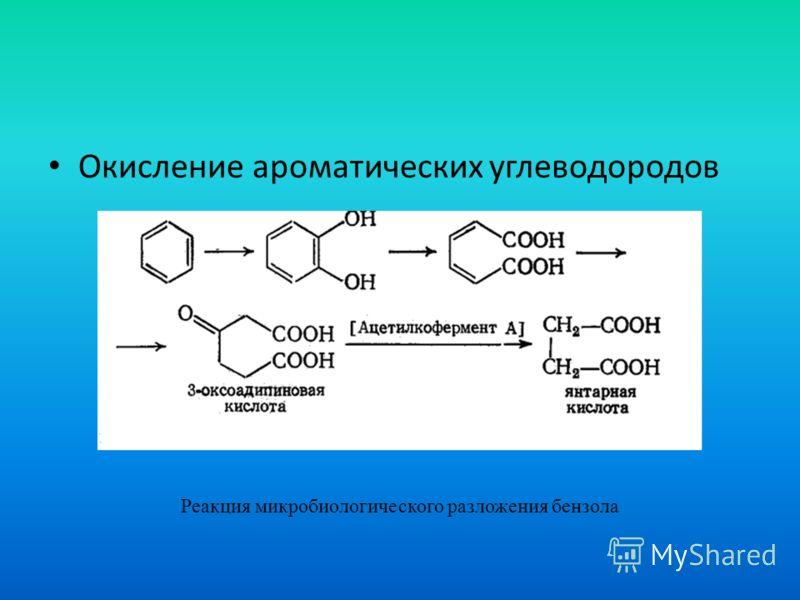 Окисление ароматических углеводородов Реакция микробиологического разложения бензола