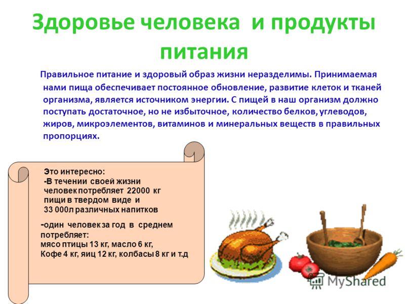 Здоровье человека и продукты питания