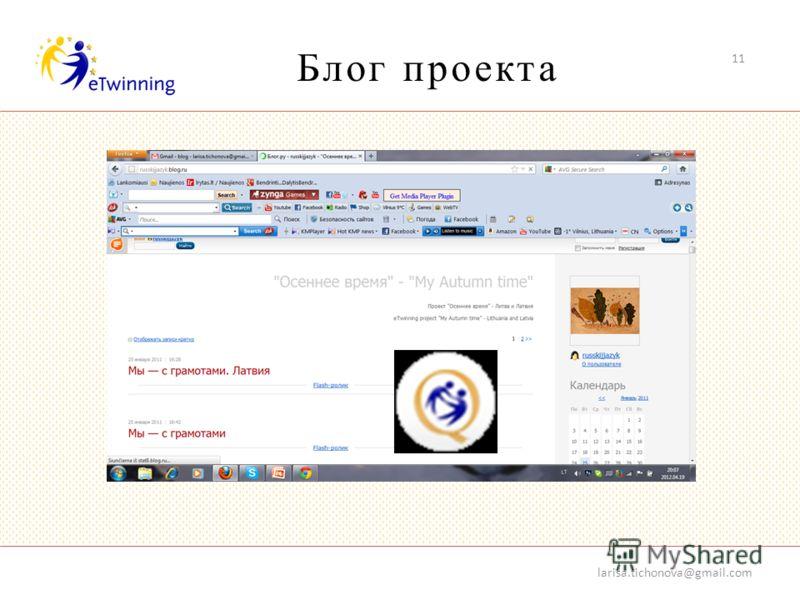 Блог проекта 11 larisa.tichonova@gmail.com