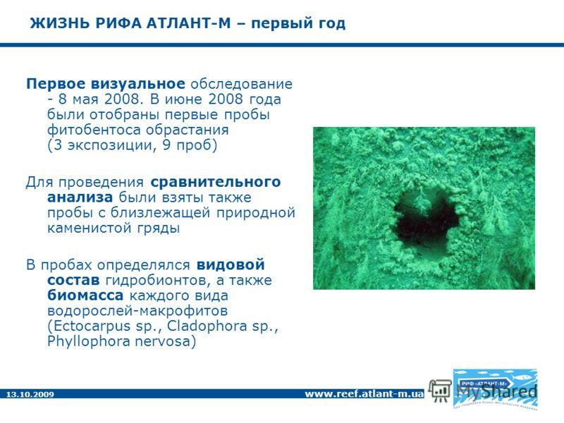 13.10.2009 www.reef.atlant-m.ua ЖИЗНЬ РИФА АТЛАНТ-М – первый год Первое визуальное обследование - 8 мая 2008. В июне 2008 года были отобраны первые пробы фитобентоса обрастания (3 экспозиции, 9 проб) Для проведения сравнительного анализа были взяты т