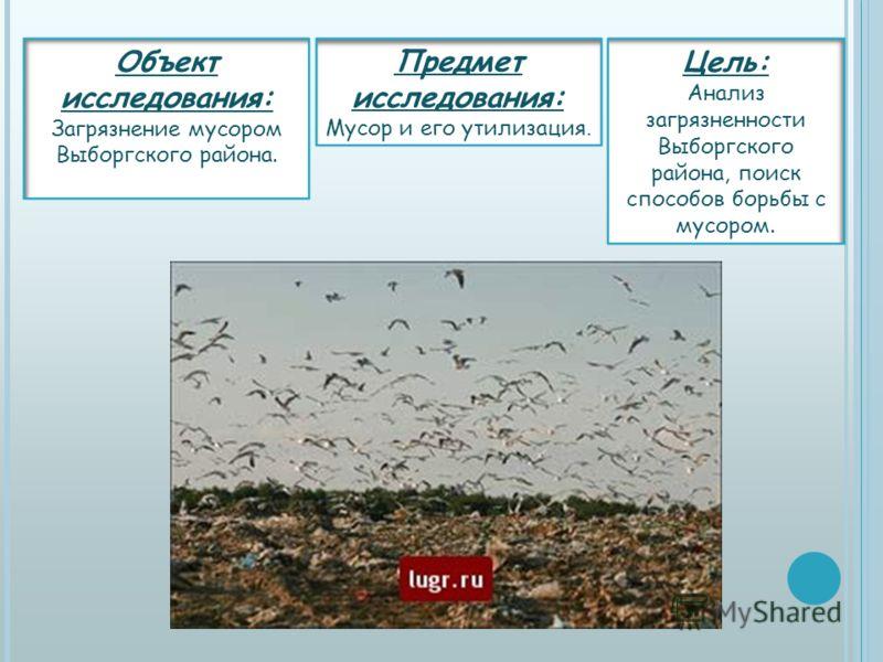 Объект исследования: Загрязнение мусором Выборгского района. Цель: Анализ загрязненности Выборгского района, поиск способов борьбы с мусором. Предмет исследования: Мусор и его утилизация.