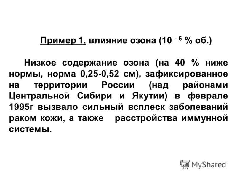Пример 1, влияние озона (10 - 6 % об.) Низкое содержание озона (на 40 % ниже нормы, норма 0,25-0,52 см), зафиксированное на территории России (над районами Центральной Сибири и Якутии) в феврале 1995г вызвало сильный всплеск заболеваний раком кожи, а