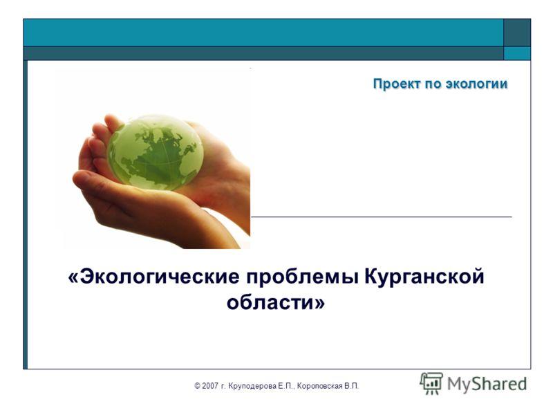 © 2007 г. Круподерова Е.П., Короповская В.П. Проект по экологии Проект по экологии «Экологические проблемы Курганской области»