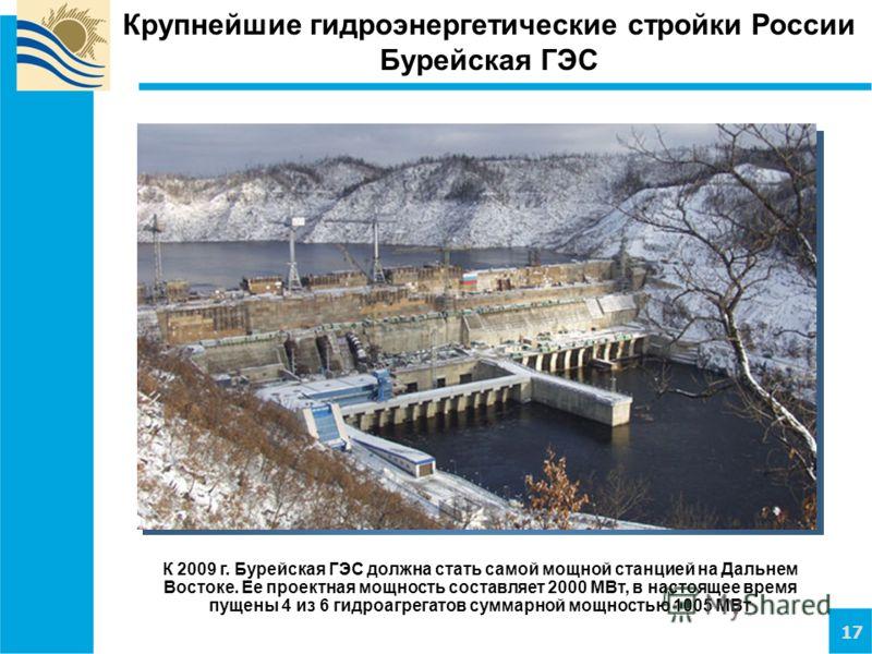 17 Крупнейшие гидроэнергетические стройки России Бурейская ГЭС К 2009 г. Бурейская ГЭС должна стать самой мощной станцией на Дальнем Востоке. Ее проектная мощность составляет 2000 МВт, в настоящее время пущены 4 из 6 гидроагрегатов суммарной мощность