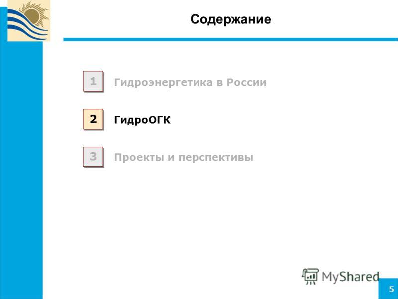 5 Содержание Гидроэнергетика в России 1 1 2 2 3 3 Проекты и перспективы ГидроОГК