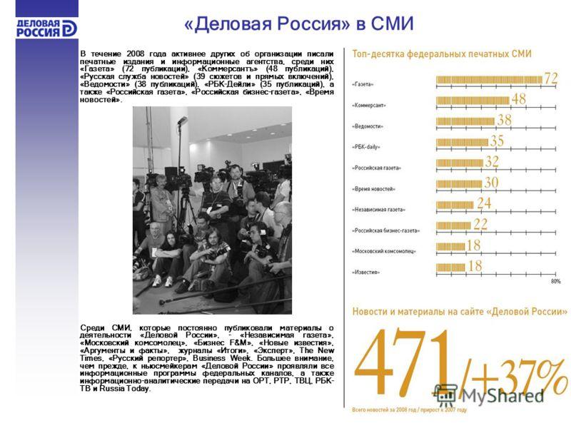 В течение 2008 года активнее других об организации писали печатные издания и информационные агентства, среди них «Газета» (72 публикации), «Коммерсантъ» (48 публикаций), «Русская служба новостей» (39 сюжетов и прямых включений), «Ведомости» (38 публи