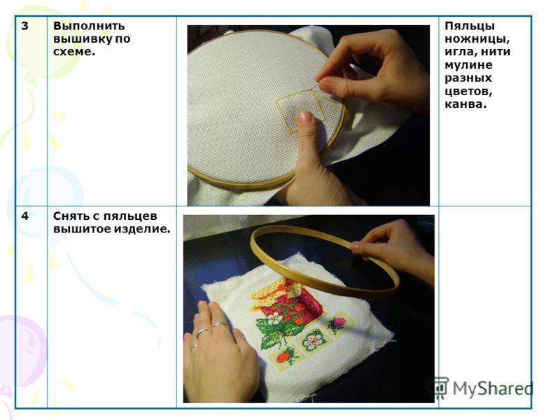 3Выполнить вышивку по схеме. Пяльцы ножницы, игла, нити мулине разных цветов, канва. 4Снять с пяльцев вышитое изделие.