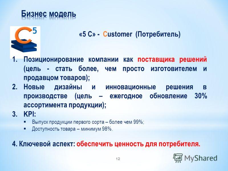 «5 С» - Customer (Потребитель) 5 1.Позиционирование компании как поставщика решений (цель - стать более, чем просто изготовителем и продавцом товаров); 2.Новые дизайны и инновационные решения в производстве (цель – ежегодное обновление 30% ассортимен