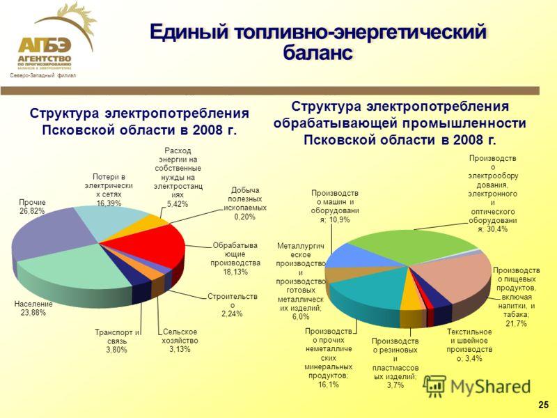 Структура электропотребления Псковской области в 2008 г. Единый топливно-энергетический баланс 25 Структура электропотребления обрабатывающей промышленности Псковской области в 2008 г.