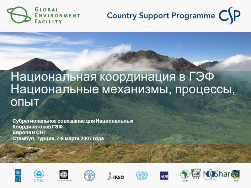 Национальная координация в ГЭФ Национальные механизмы, процессы, опыт Субрегиональное совещание для Национальных Координаторов ГЭФ Европа и СНГ Стамбул, Турция, 7-8 марта 2007 года