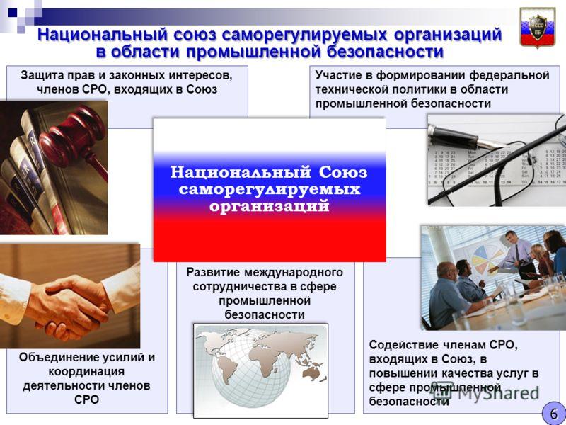 Участие в формировании федеральной технической политики в области промышленной безопасности Объединение усилий и координация деятельности членов СРО Развитие международного сотрудничества в сфере промышленной безопасности Защита прав и законных интер