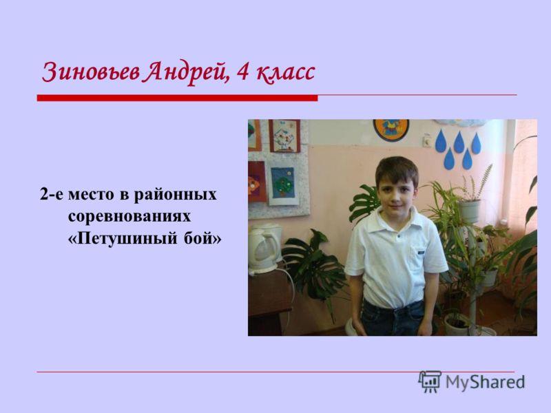 Зиновьев Андрей, 4 класс 2-е место в районных соревнованиях «Петушиный бой»