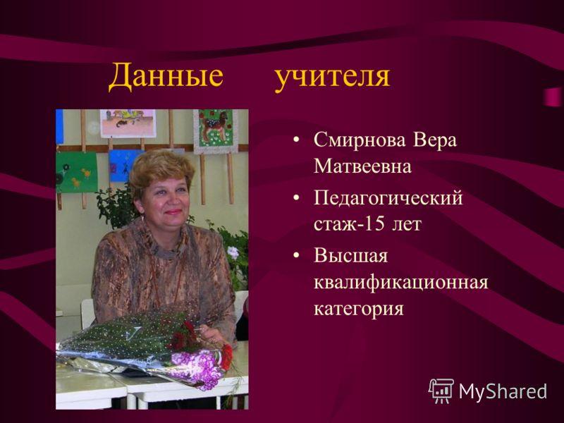 Данные учителя Смирнова Вера Матвеевна Педагогический стаж-15 лет Высшая квалификационная категория
