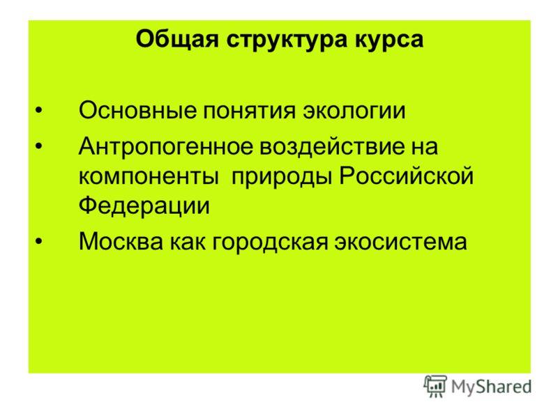 Общая структура курса Основные понятия экологии Антропогенное воздействие на компоненты природы Российской Федерации Москва как городская экосистема