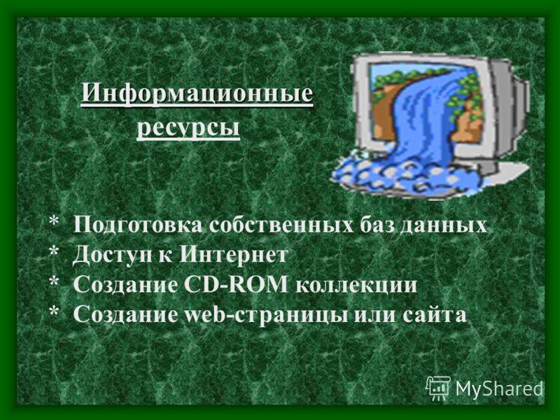 * Подготовка собственных баз данных * Доступ к Интернет * Создание CD-ROM коллекции * Создание web-страницы или сайта Информационные ресурсы