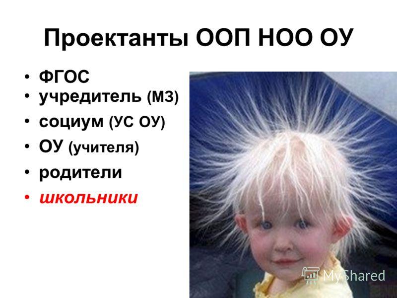 Проектанты ООП НОО ОУ ФГОС учредитель (МЗ) социум (УС ОУ) ОУ (учителя) родители школьники