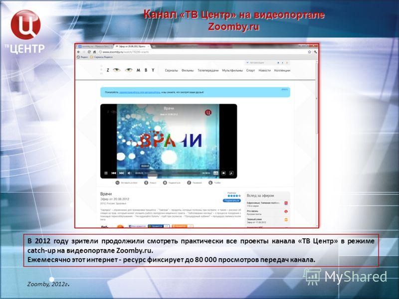 Канал «ТВ Центр» на видеопортале Zoomby.ru Zoomby, 2012г. В 2012 году зрители продолжили смотреть практически все проекты канала «ТВ Центр» в режиме catch-up на видеопортале Zoomby.ru. Ежемесячно этот интернет - ресурс фиксирует до 80 000 просмотров
