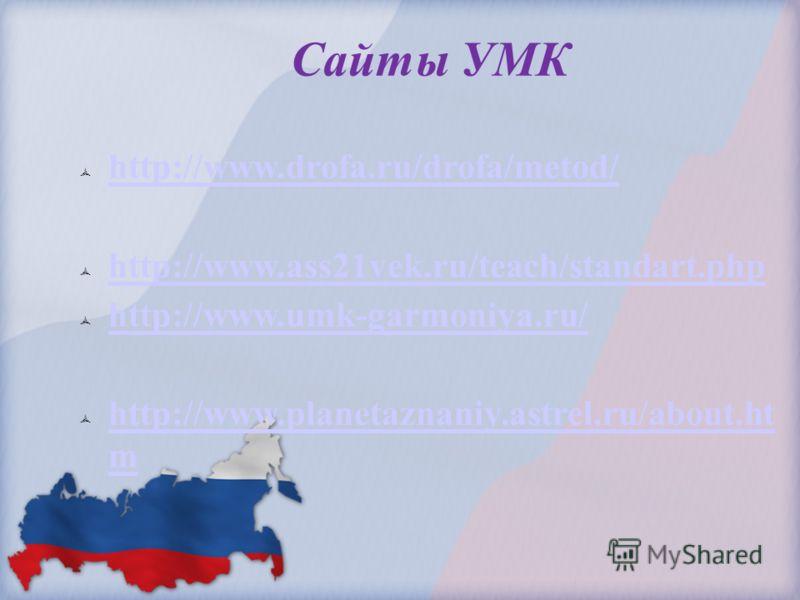Сайты УМК http://www.drofa.ru/drofa/metod/ http://www.ass21vek.ru/teach/standart.php http://www.umk-garmoniya.ru/ http://www.planetaznaniy.astrel.ru/about.ht m http://www.planetaznaniy.astrel.ru/about.ht m