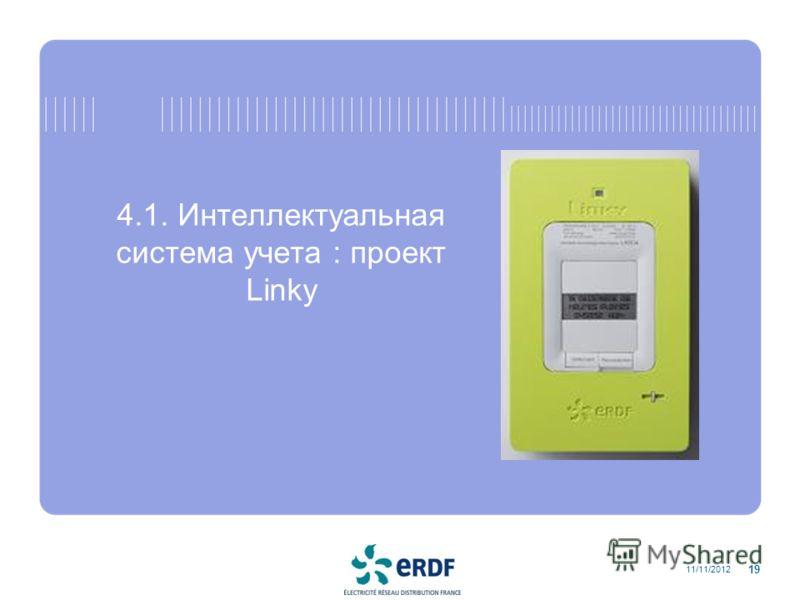 4.1. Интеллектуальная система учета : проект Linky 11/11/2012 19