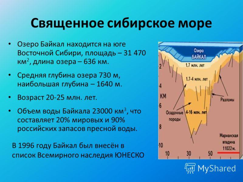 Священное сибирское море Озеро Байкал находится на юге Восточной Сибири, площадь – 31 470 км 2, длина озера – 636 км. Средняя глубина озера 730 м, наибольшая глубина – 1640 м. Возраст 20-25 млн. лет. Объем воды Байкала 23000 км 3, что составляет 20%
